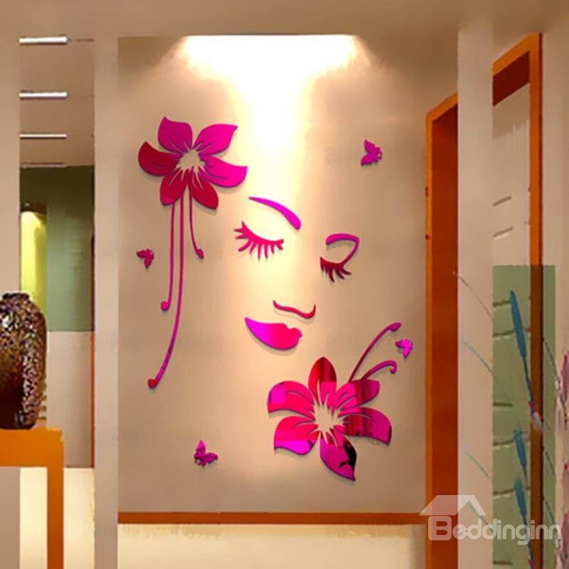 Elegant Beautiful Girl Face and Flower Pattern Home Decorative 3D Wall Stickers #face