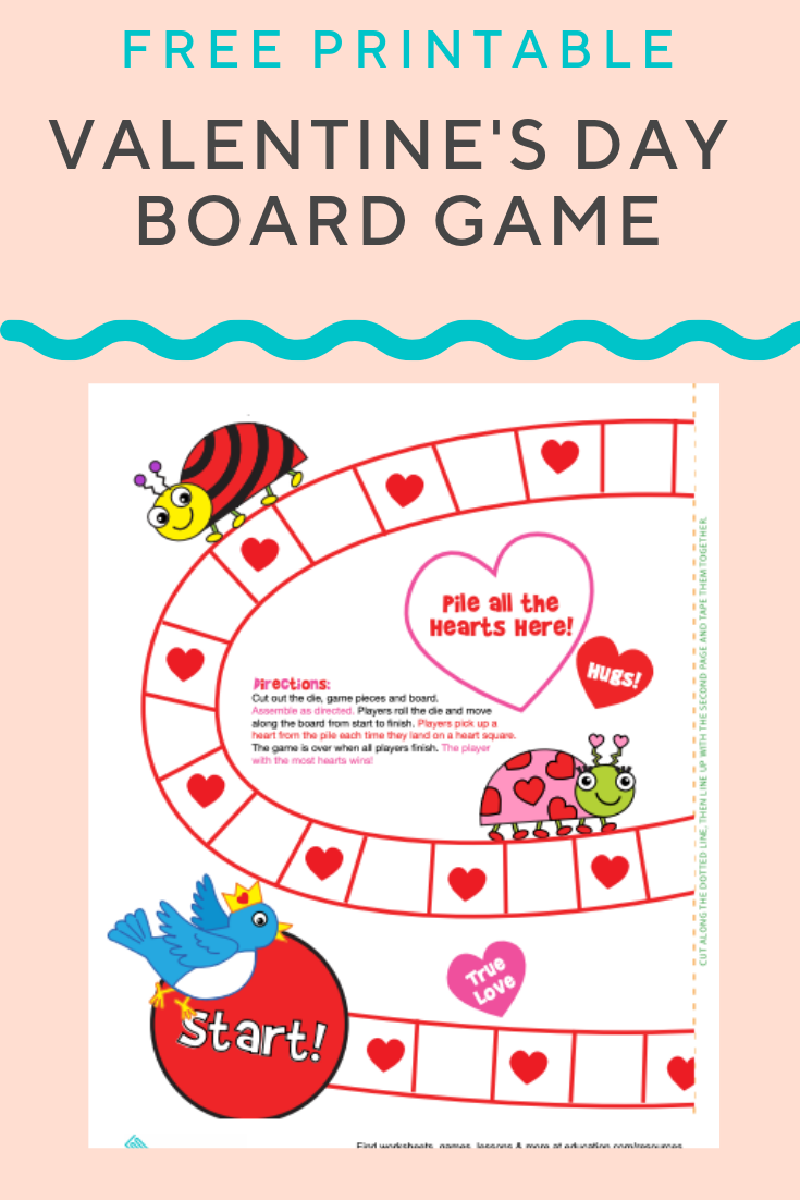 Valentine S Day Board Game Worksheet Education Com Valentines Games Math Valentines Valentines Printables Free [ 1102 x 735 Pixel ]