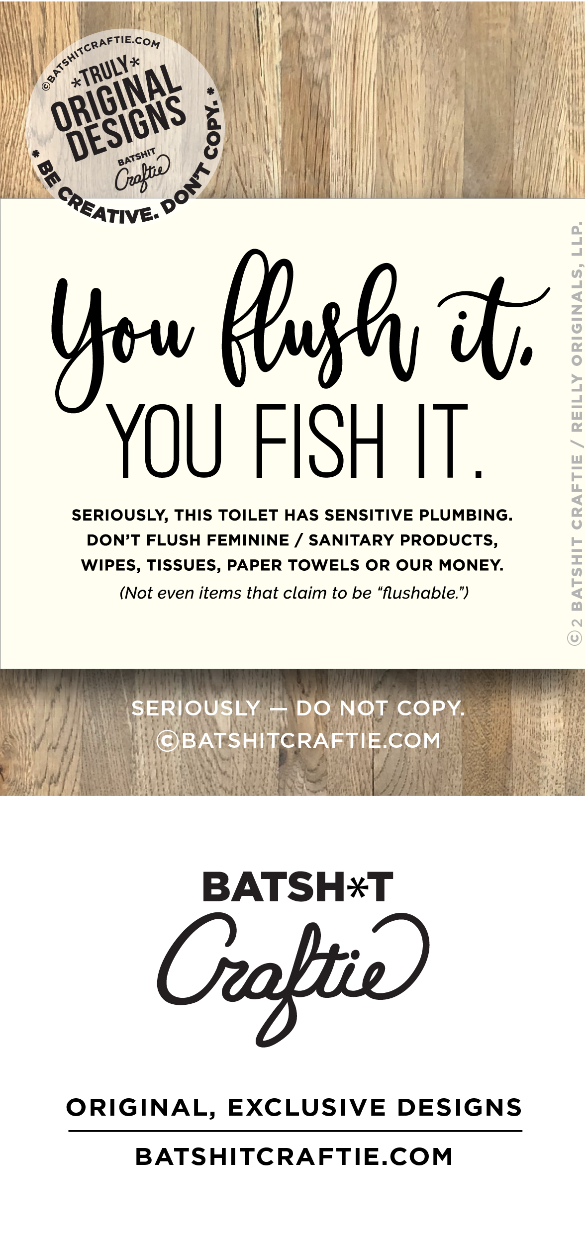 You Flush It Fish A Funny Septic System Sensitive Plumbing Sign