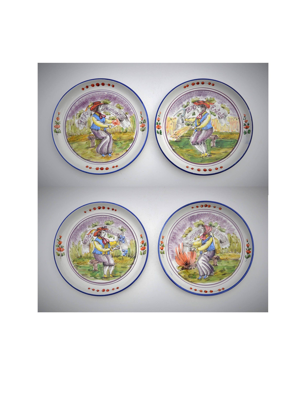 Italian \'Four Seasons\' Harvest Decorative Wall Plates, Set of Four ...