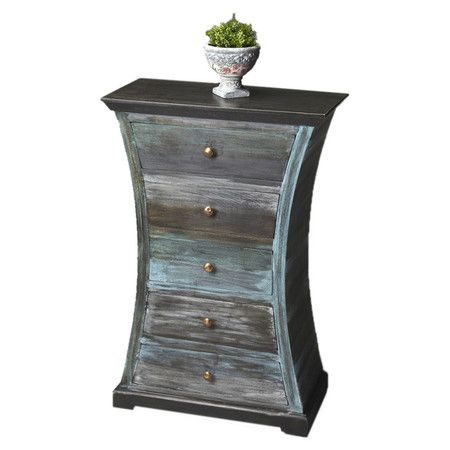 Stylist's Tip: Weathered-finished furniture is a great way to bring instant vintage style to any space, and this 5-drawer mango wood chest definitely makes a...