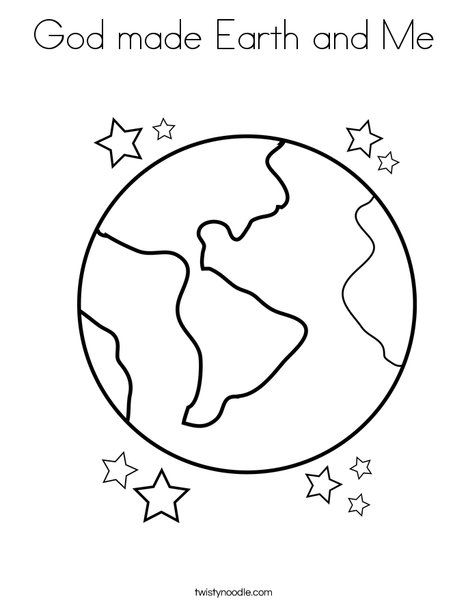 God Made Earth And Me Coloring Page Tracing Twisty Noodle