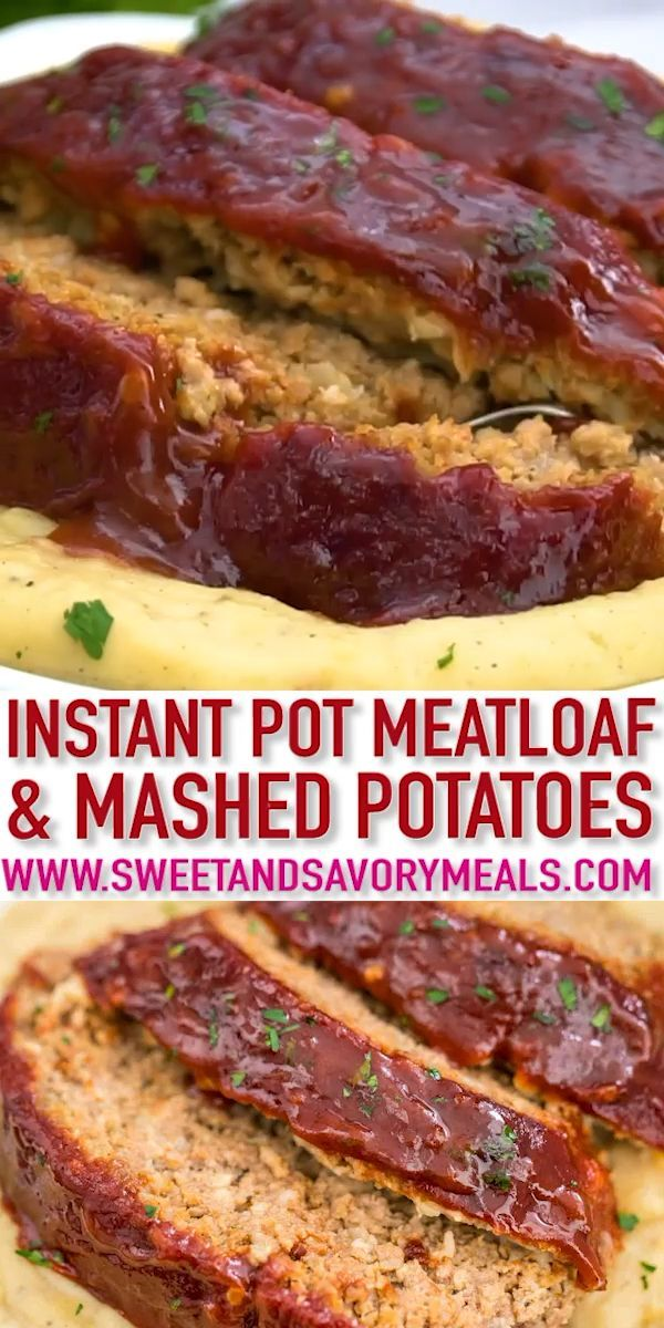 Instant Pot Meatloaf and Mashed Potatoes Instant Pot Meatloaf and Mashed Potatoes is an easy and delicious dinner that is ready in less than one hour. This is one of the best comfort foods cooked at the same time in the pressure cooker.