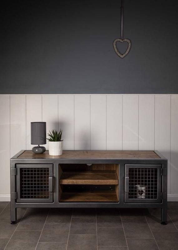 Handmade Reclaimed Wood & Steel TV Stand Vintage Rustic Industrial TV Stand