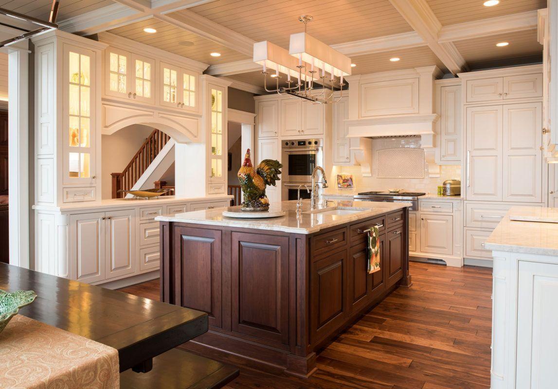 Best Traditional White Kitchen With Dark Cherry Island 640 x 480