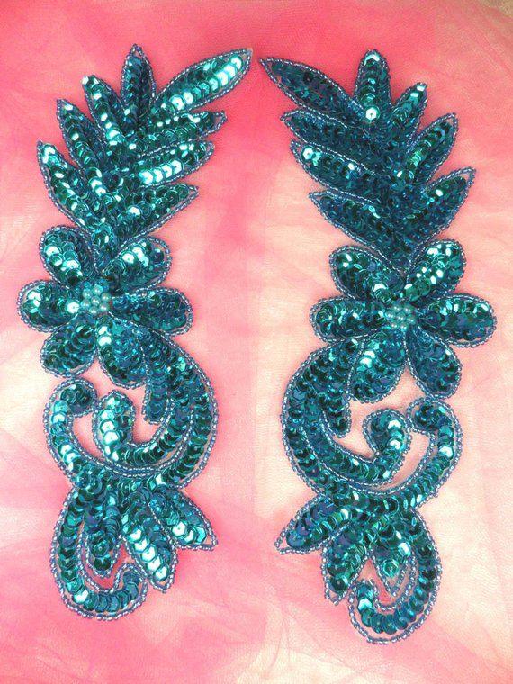 """0016 Appliques Blue Mirror Pair Beaded Sequin 8.5/"""""""