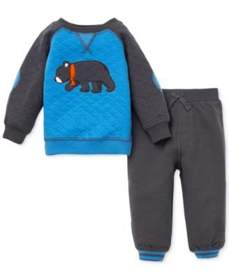 Little Me Baby Boys' 2-Piece Bear Quilted Shirt & Pants Set