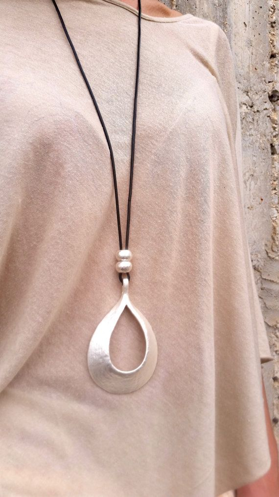 Drop silver pendant long necklace statement necklace large drop silver pendant long necklace statement necklace large necklace silver mozeypictures Images