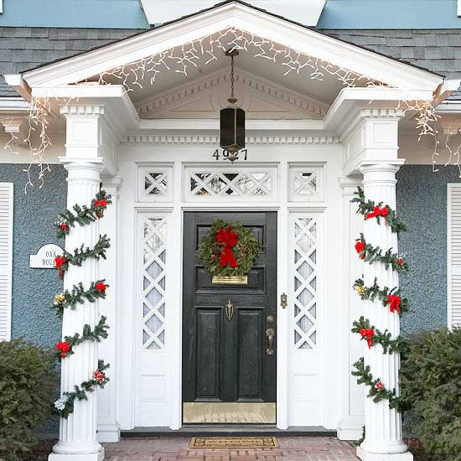 Modern Red Front Door: Exterior, Front Door Decoration Ideas For Christmas
