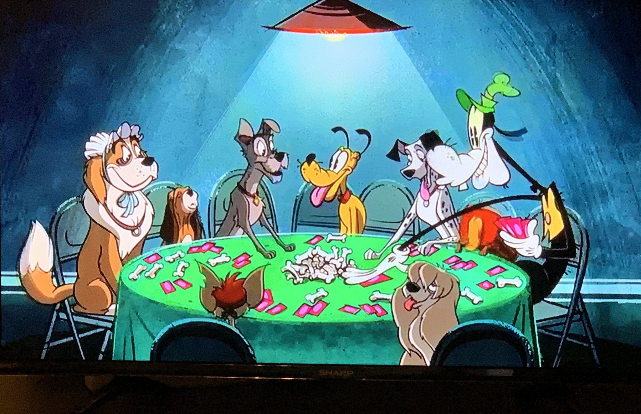 Jennifer On Twitter Dogs Playing Poker Disney Dogs Disney Villians