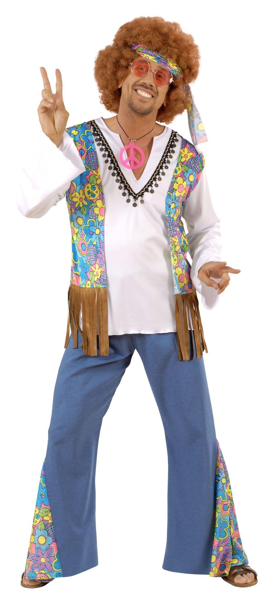 Uomo Anni 70.Costume Hippy Afro Per Uomo Festa Anni 70 Uomo Hippie