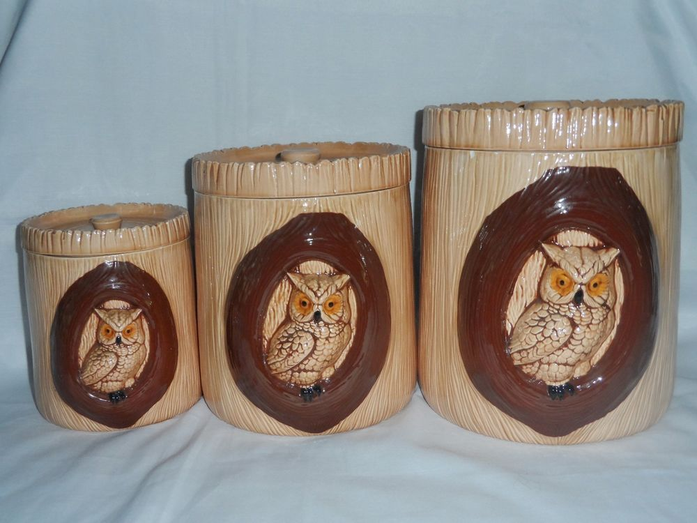 Owl Canister Sets Brown 6 Piece 3D Kitchen Storage Containers
