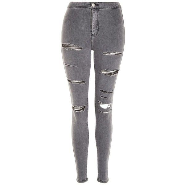 soft and light official sale great variety styles Topshop Moto Grey Super Ripped Joni Jeans ($55) ❤ liked on ...