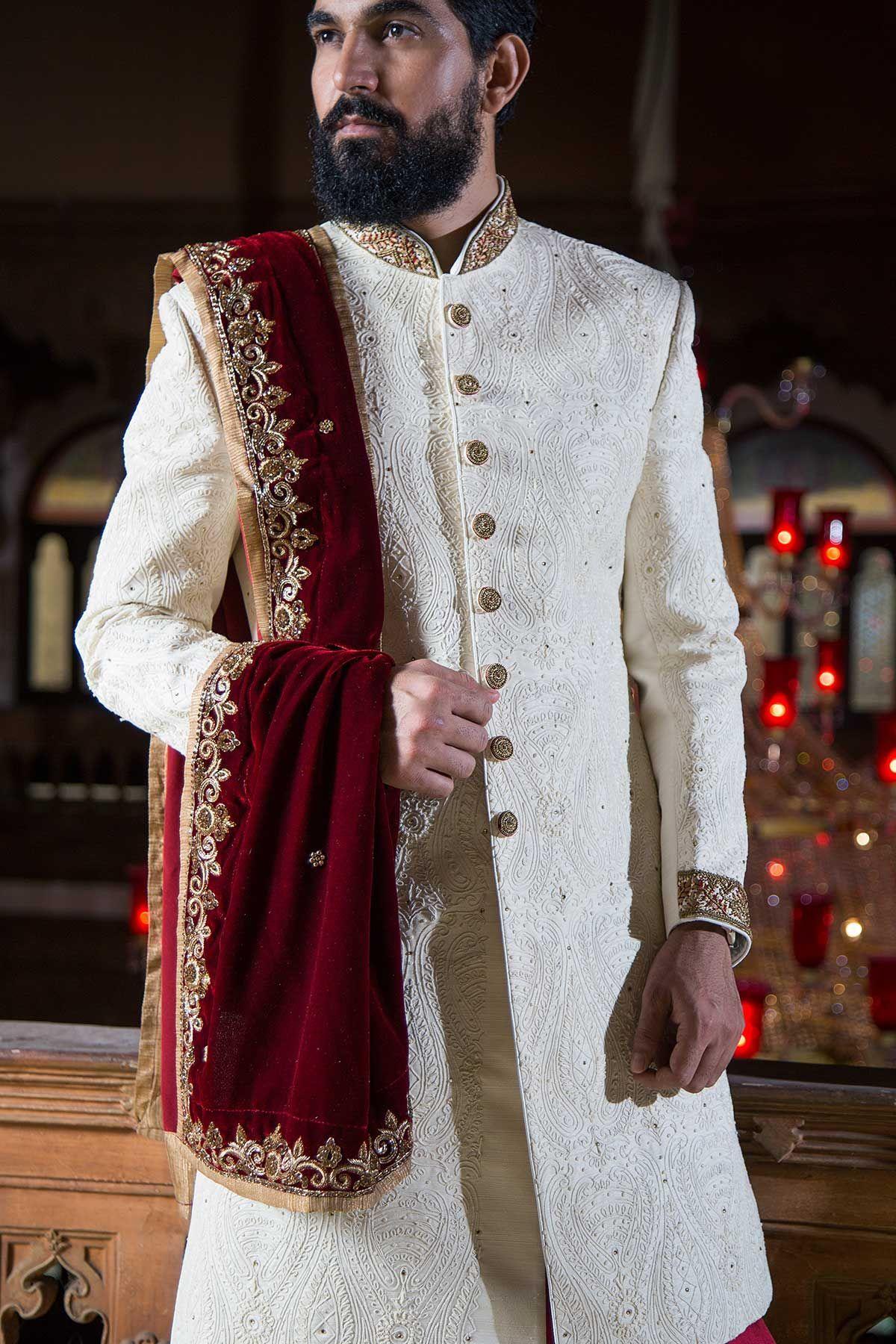 Cream brocade resham embroidered wedding sherwanish my