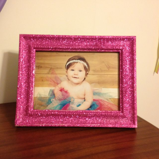 Mod Podge picture frame. Take old frame and layer modpodge, sprinkle with any fine glitter and let dry completely. Once dry spray outside with the mod Podge acrylic spray and there you have it a glitter fantastic frame!!