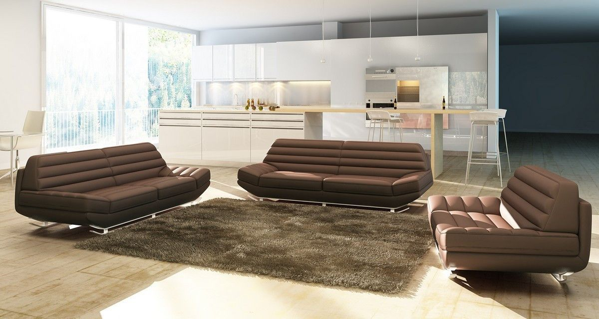 Stupendous Modern Brown Bonded Leather Sofa Set Products Leather Evergreenethics Interior Chair Design Evergreenethicsorg