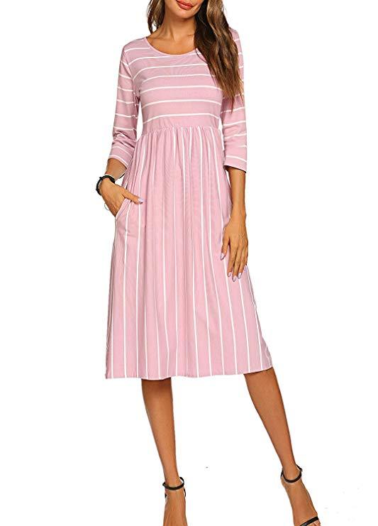 Halife Womens 3 4 Sleeve Stripe Elastic Waist Casual Dress with Pocket