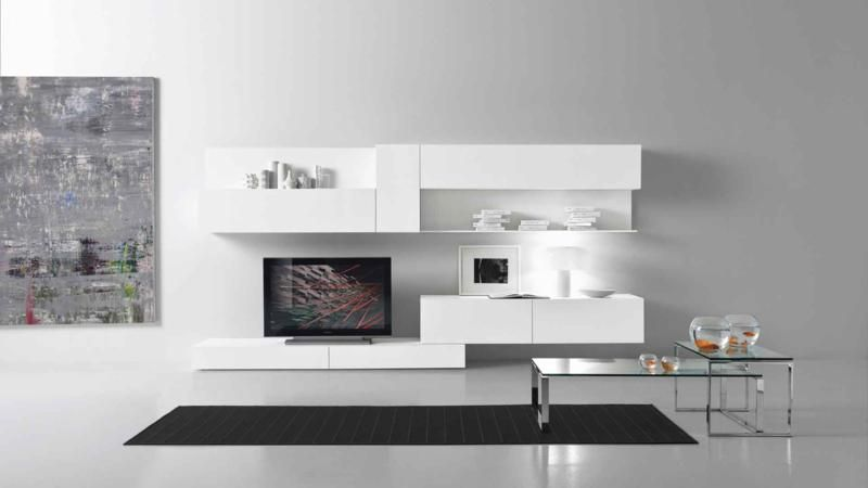 modern white color living room furniture design - Room Design Modern