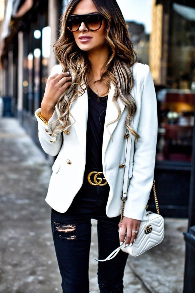 be69eab70 Coveting: Gold Hardware - Gucci 'GG Marmont' Bag // Gucci 'Double G' Buckle  Belt // Lioness White Blazer // Topshop Black Jeans // T by Alexander Wang  Black ...