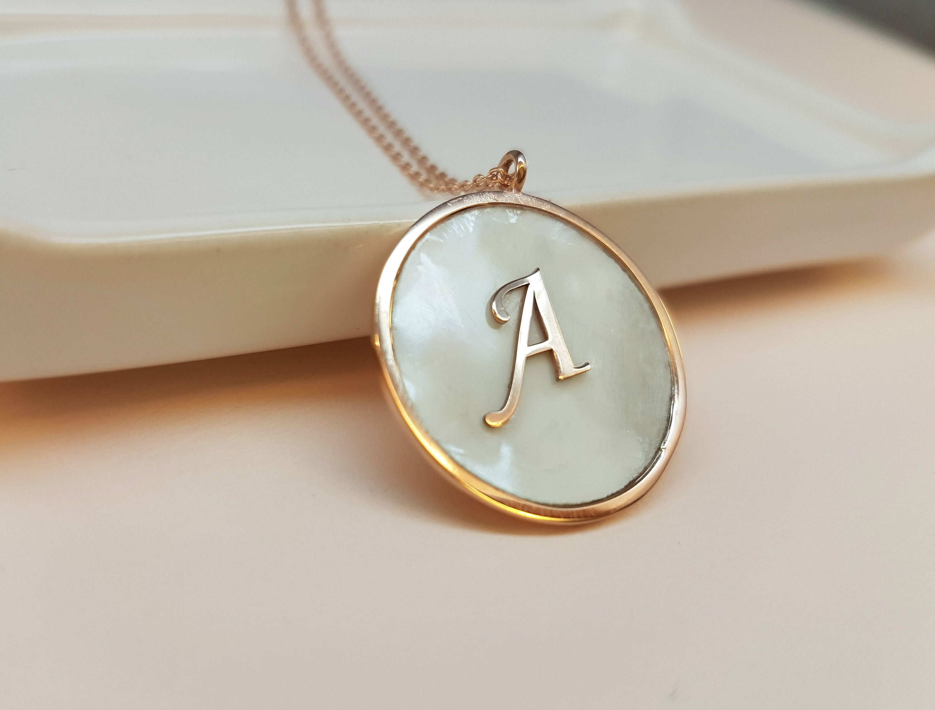 silver pin custom letter pendant uppercase necklace tiny sterling initial