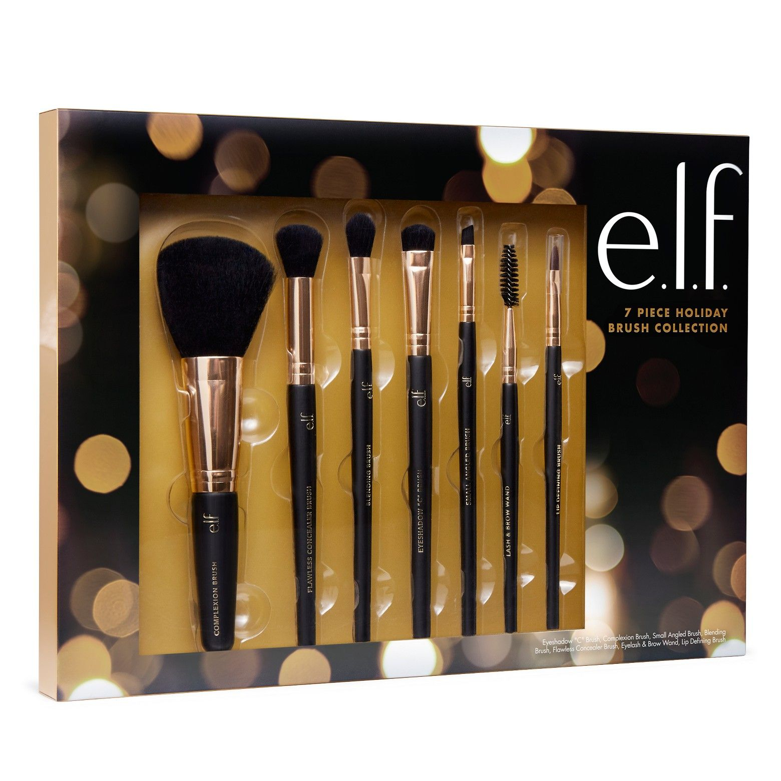 e.l.f.'s 7 piece Holiday Brush Collection Includes