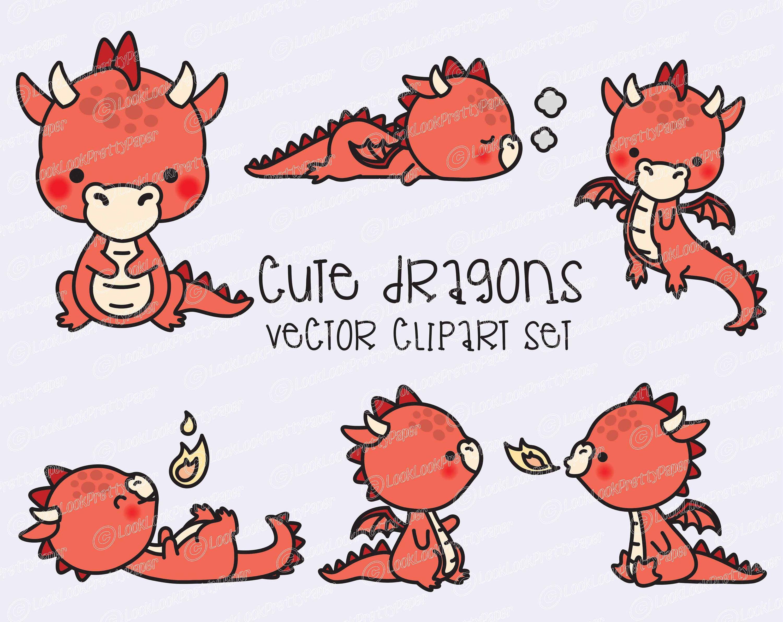 Premium Vector Clipart Kawaii Dragon Cute Baby Dragons Clipart Set High Quality Vectors Instant Download Kawaii Clipart Red Dragon Cute Dragon Drawing Kawaii Clipart