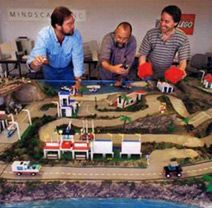 That's Scott (Producer) Me (Hunched over) and Dennis (Technology Director) huddled over the tangible model of the Island