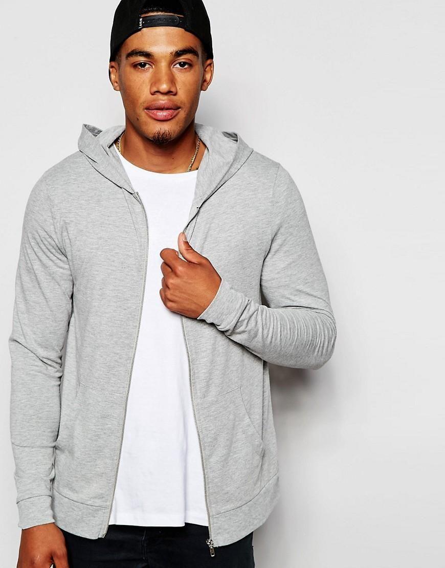 ASOS | ASOS Muscle Zip Up Hoodie In Gray Lightweight Jersey at ASOS