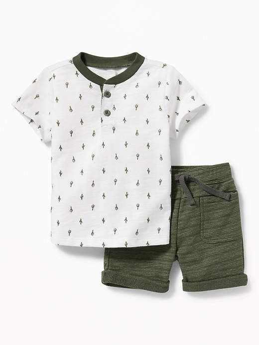 Old Navy Henley And Drawstring Shorts Set For Baby Baby Boy Clothes Summer Boys Summer Outfits Baby Boy Outfits