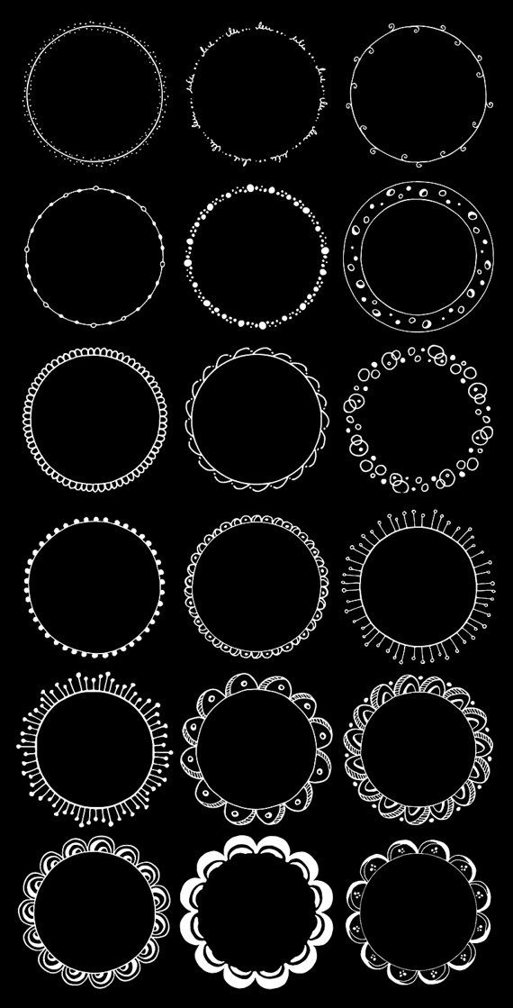 Round Frames Clipart Hand Drawn Circles Clipart Floral Etsy How To Draw Hands Circle Borders Digital Frame