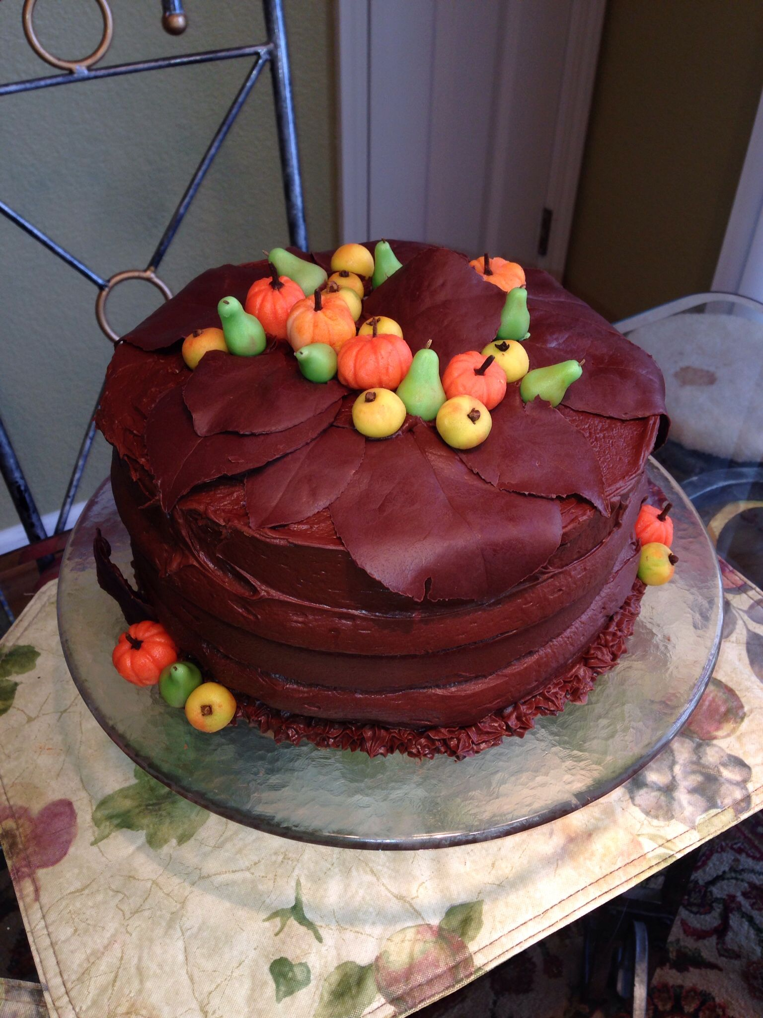 Chocolate Pumpkin Cake with Marzipan fruit and chocolate leaves
