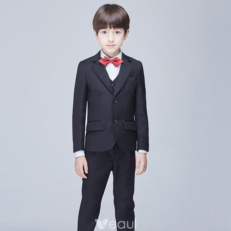 Modest / Simple Black Long Sleeve Boys Wedding Suits 2017 | Boys ...