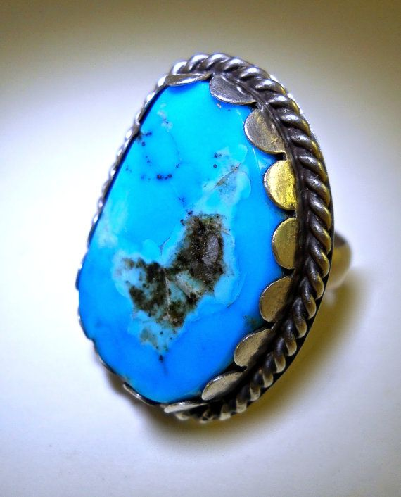 Natural Turquoise Sterling Silver Ring Free by RenaissanceFair