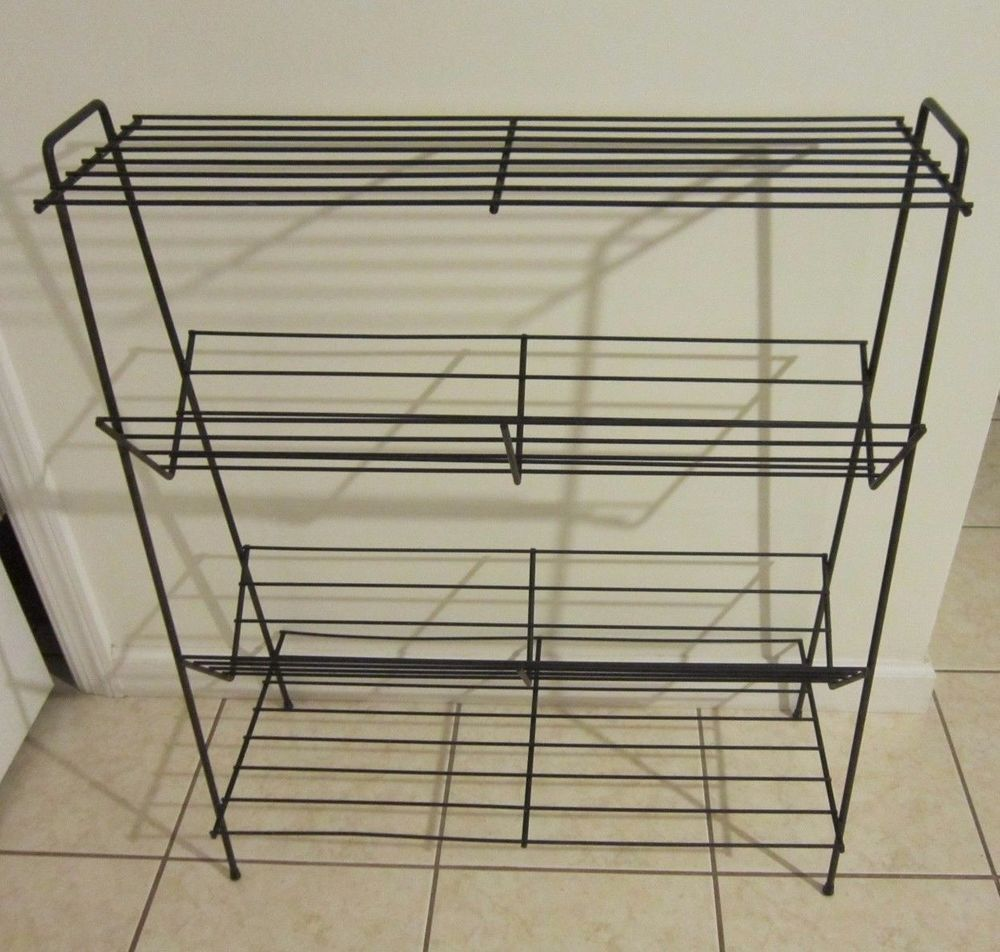Vintage 50s black metal wire mesh TV stand end table plant shelf adjustable record player swivel top mid century modern retro furniture