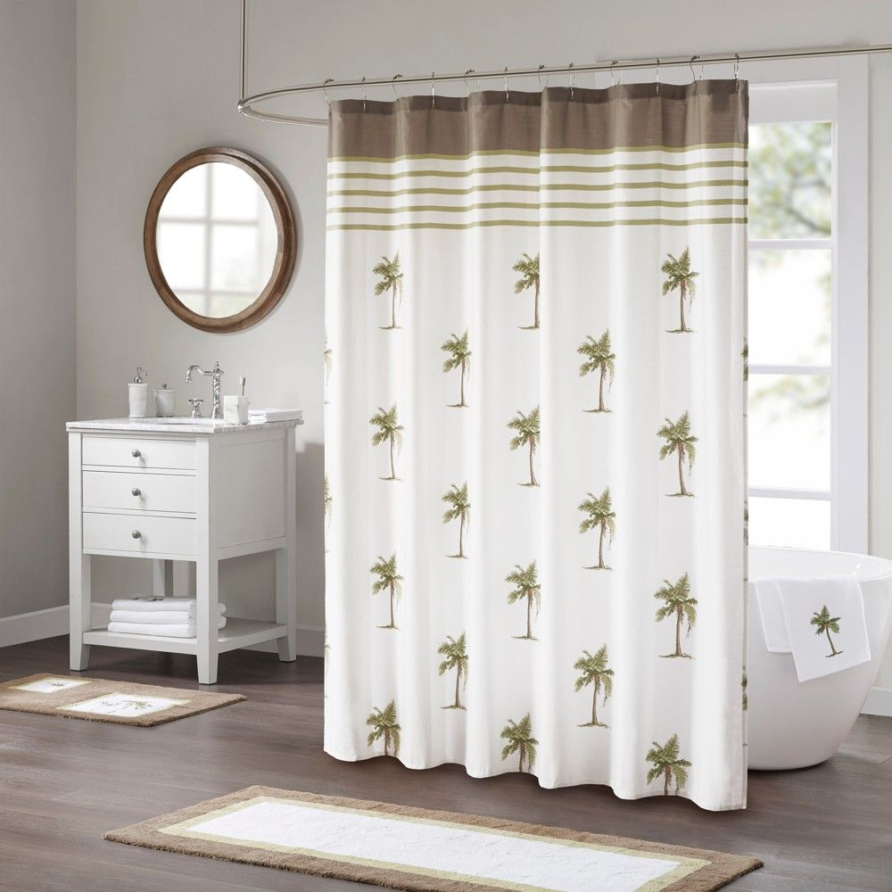 Sago cotton printed shower curtain green products pinterest