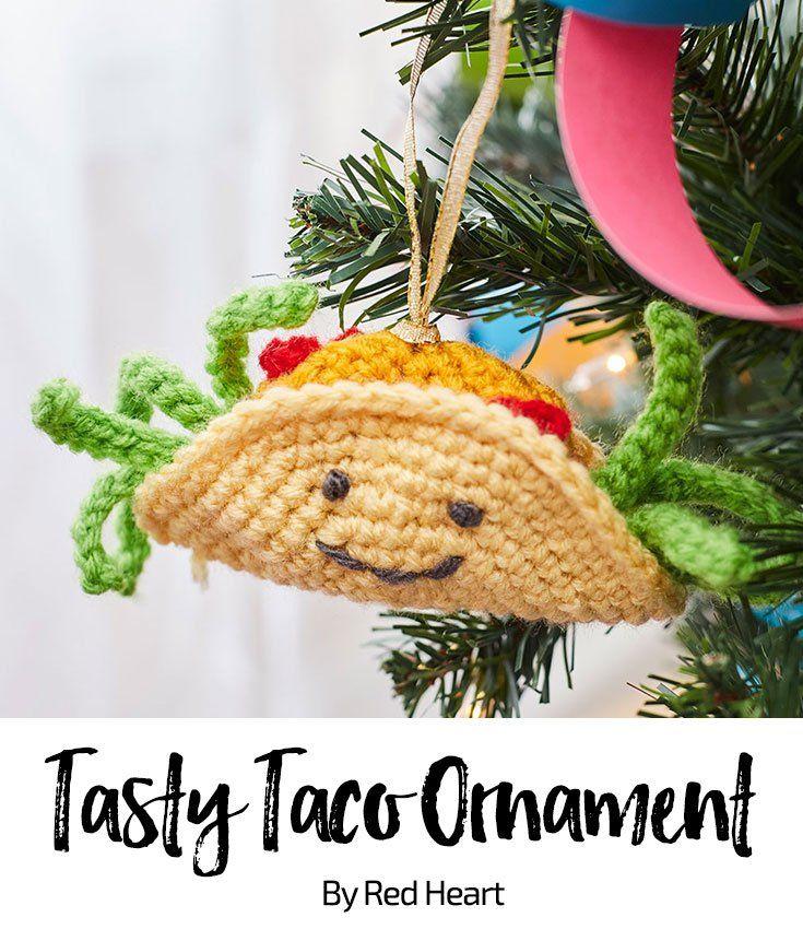 Tasty Taco Ornament free crochet pattern in Super Saver. | Crochet ...