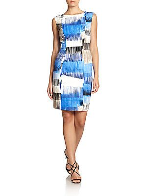 Carmen Marc Valvo Abstract-Print Cotton Sheath Dress