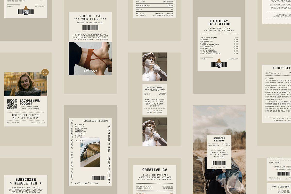 Creative Receipt Social Media Pack Social Media Pack Instagram Template Book Cover Design Template