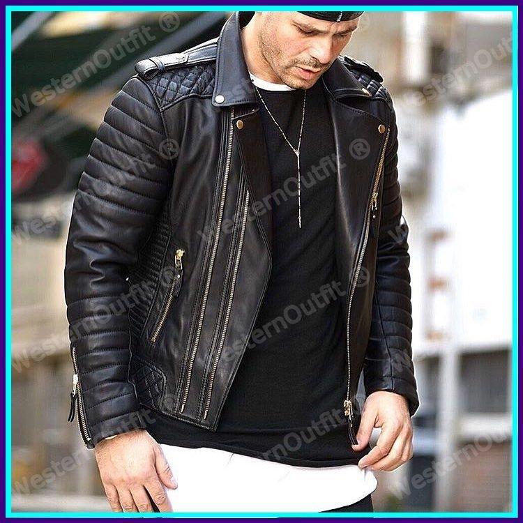 Men/'s Slim fit Lambskin Motorcycle Biker Jacket Genuine Black Jacket Leather