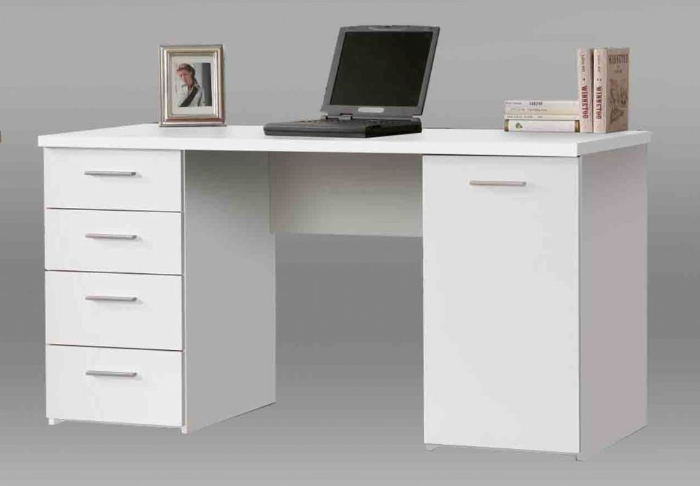 Pulton Large White Writing Desk With Drawers By Furniturefactor Writing Desk With Drawers White Desk Office White Writing Desk