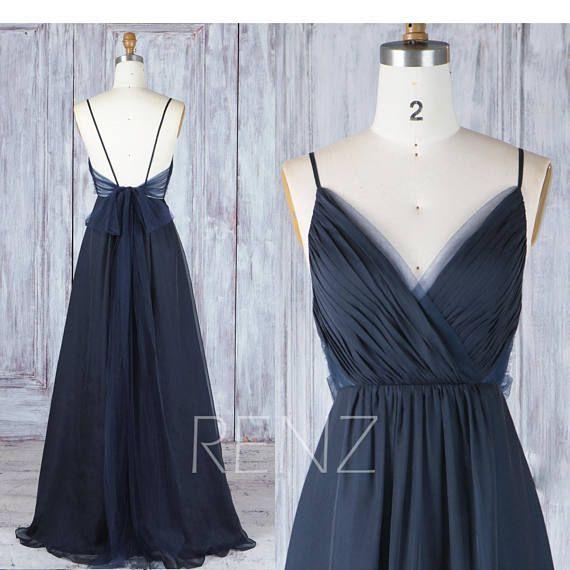 Bridesmaid Dress Navy Blue Chiffon Dress Wedding Dress Spaghetti Strap Prom Dress Ruched V Neck Maxi Dress Long A-line Party Dress(H547A)