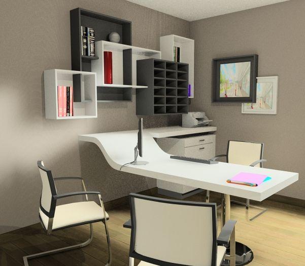 am nagements de bureaux sur mesure par cr ativ mobilier escritorios pinterest office table. Black Bedroom Furniture Sets. Home Design Ideas