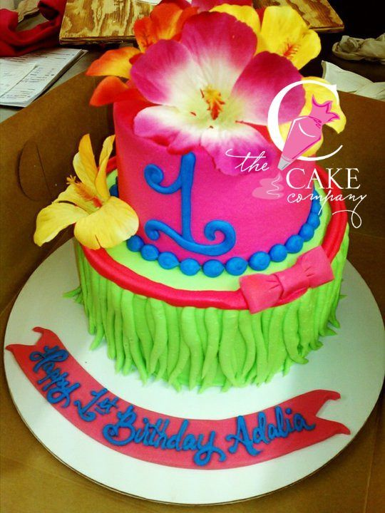 Awesome Hawaiian First Birthday Cake Luau Birthday Cakes Luau Birthday Funny Birthday Cards Online Elaedamsfinfo