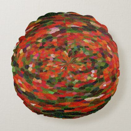 Red vibrant flower abstract round pillow