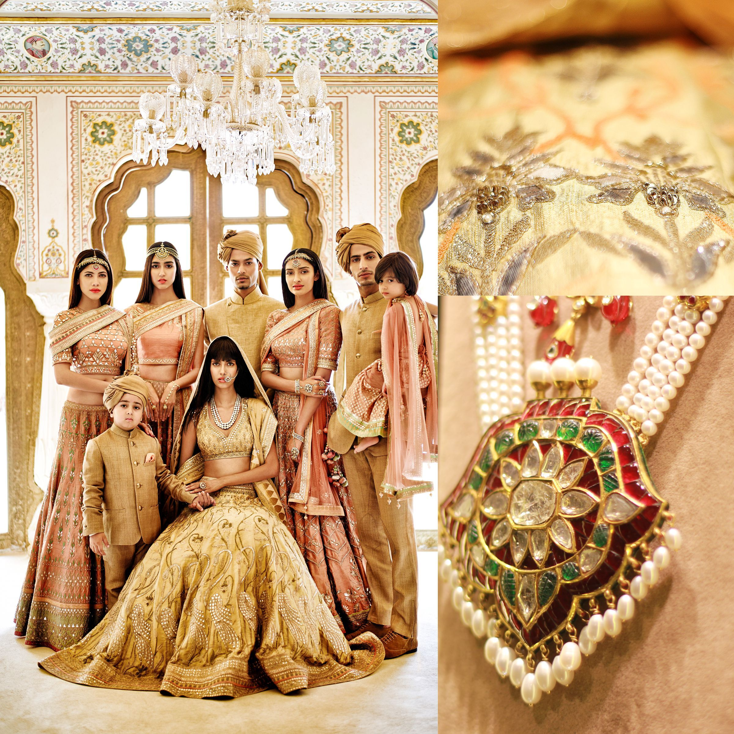 Wedding Entourage Hairstyle: #AnitaDongre #lehenga #WeddingInspiration #gotapatti