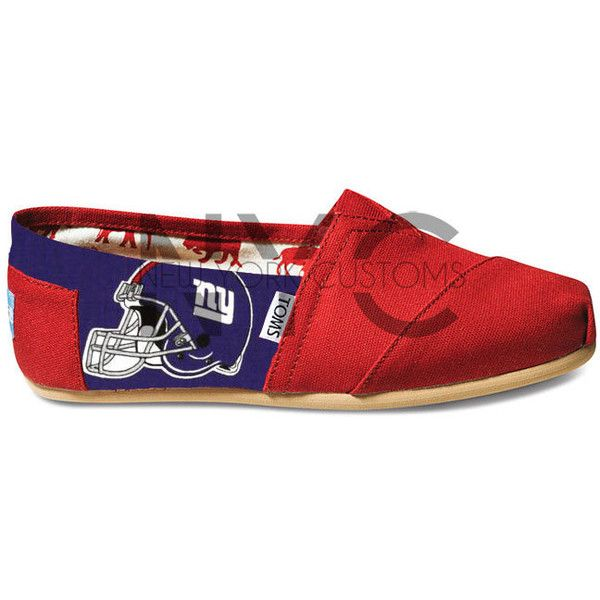 Custom New York Giants Football Red Toms ($110) ❤ liked on Polyvore featuring shoes, black, slip ons, sneakers & athletic shoes, unisex adult shoes, comic book, unisex shoes, comic shoes, kohl shoes and slip on shoes