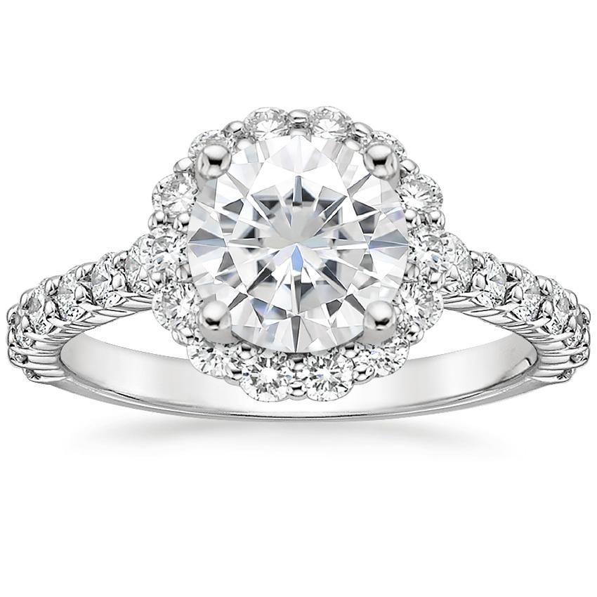 18k white gold moissanite lotus flower diamond ring with