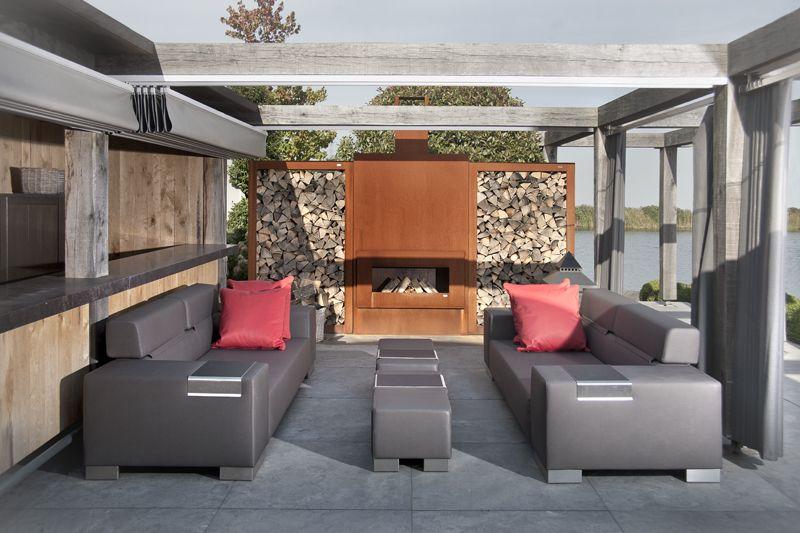 Garden fireplace retta massive zeno products outdoor spaces