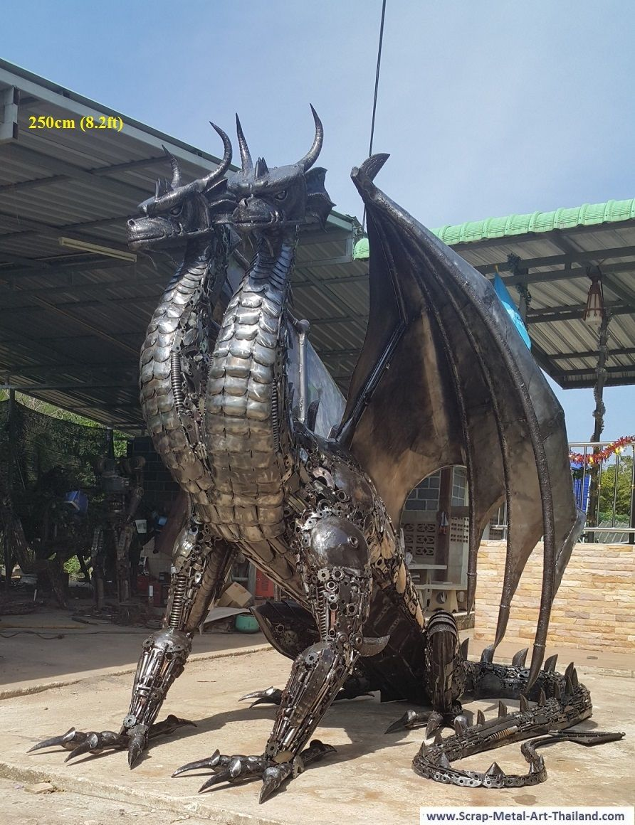 two headed dragon statue/sculpture, life size recycled ...