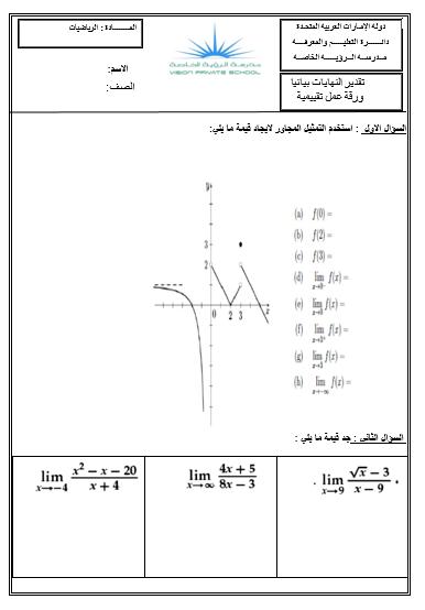 الرياضيات المتكاملة ورقة عمل تقدير النهايات بيانيا للصف الحادي عشر Chart Line Chart